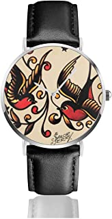 Sailor Jerry Tattoo Print Black Quartz Movement Stainless Steel Leather Strap Watches Casual Fashion Wrist Watches