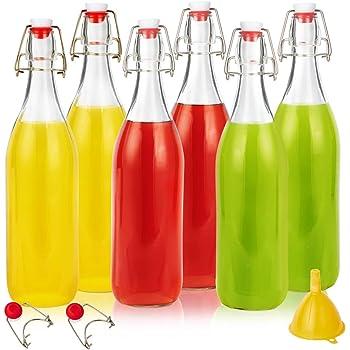 Swing Top Glass Bottles 16oz, Eternal Moment Flip Top Airtight Brewing Bottle(6 Pack) for Kombucha, Kefir, Vanilla Extract, Beer, Oil,Vinegarand Homemade Juices - Free 2 Stoppers,1 Funnel