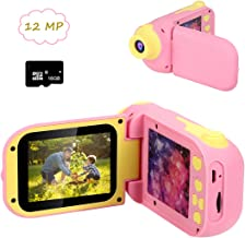 Cocopa Kids Camera Digital Camera for Girls Rechargeable 1080P 12MP Toy Cameras 2.4 Inch 16 GB Card Included Toys Birthday Gifts for Girls Boys 3 4 5 6 7 8 Years Old Girls Toddlers Pink