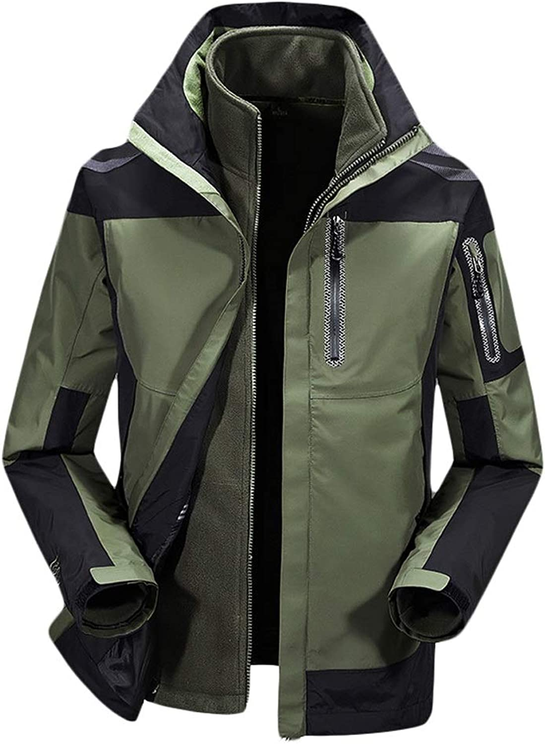 Yzibei Men's Windproof Ski Rain Snow Jacket Waterproof Jacket with Hood, Breathable Raincoat Mountain Hiking Walking Travelling Outdoor Jacket (color   Army green, Size   XL)