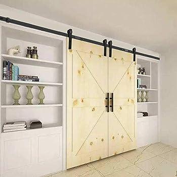 152CM/5FT Puerta de granero corredera estilo rústico puerta de granero corredera de madera para armario puerta granero herraje colgadocon guía rodamientos deslizantes, para puerta doble: Amazon.es: Bricolaje y herramientas
