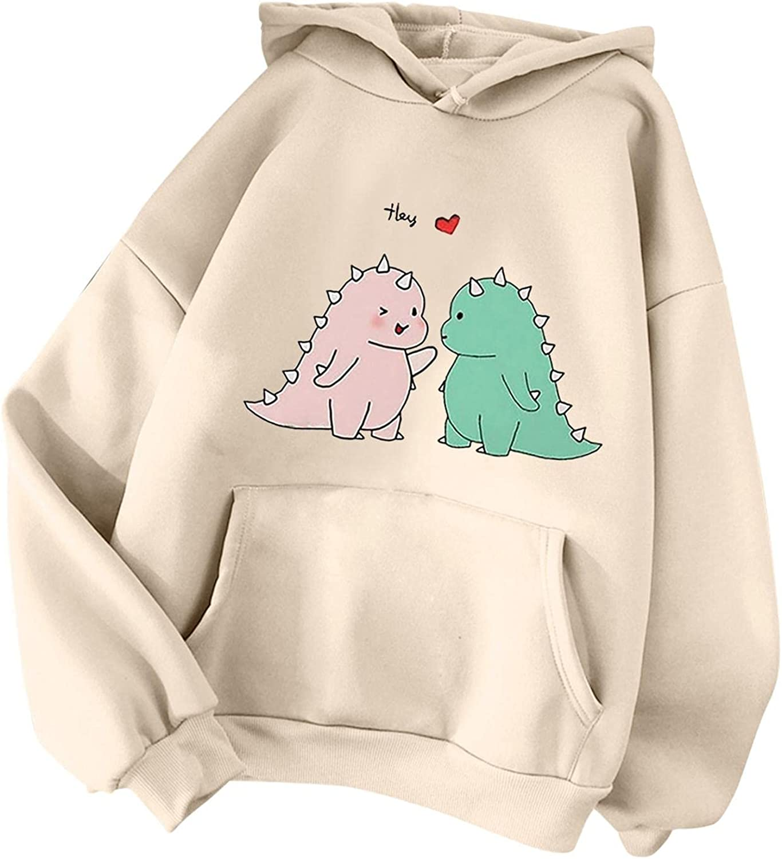 Max 52% OFF Jacksonville Mall DZQUY Women's Casual Hoodie Sweatshirts Girls Cute Teen Dinosaur