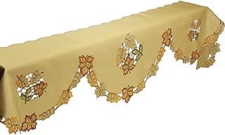 Xia Home Fashions Bountiful Leaf Embroidered Cutwork Mantel Scarf, 82 by 60 by 20-Inch