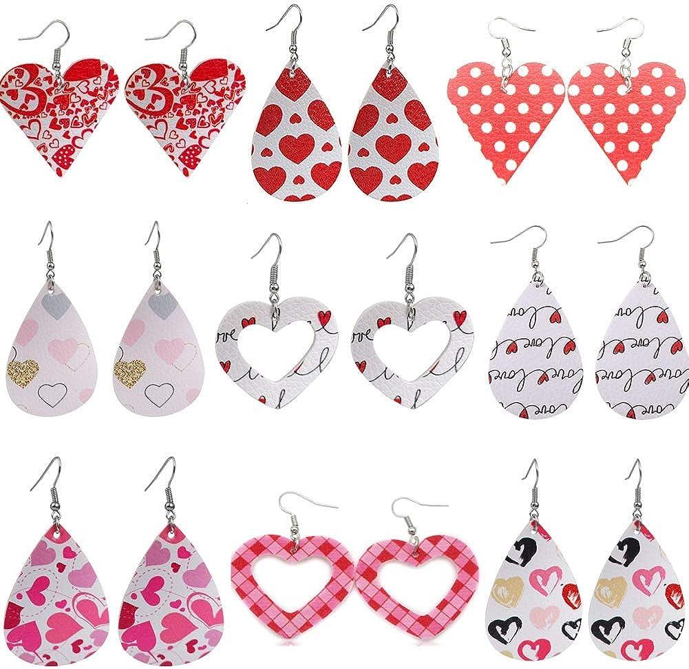 Heart Polka Dot Pattern Print PU Leather Earrings Pink Faux Leather Teardrop Drop Earrings Romantic Cute Hollow Love Heart Shaped Dangle Earrings for Women Girl Valentine's Day Jewelry