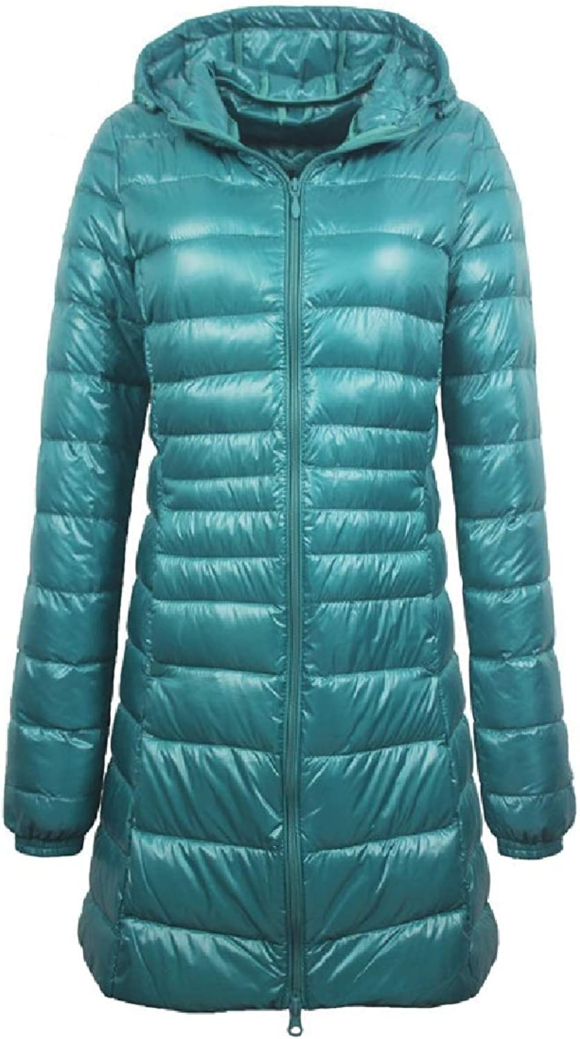 color&W Womens Hood Plus Size Fall Winter UltraLight Outwear MidLong Anorak Jacket