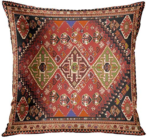 antoipyns Abstract Persian Carpet Tribal and Changing Colors and Arabesque Border Decorative Pillow Case Home Decor Square 18x18 Inches Pillowcase Throw Pillow Cover
