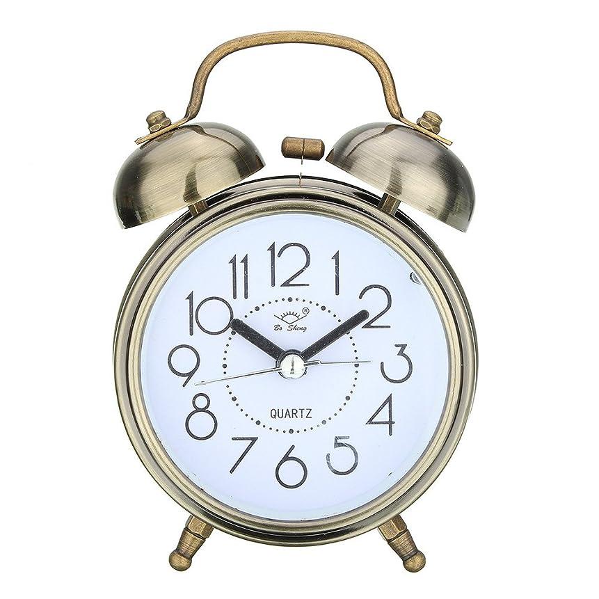短命レディ旅目覚まし時計サイレントスヌーズの装飾リビングルームの寝室の電池式装飾デジタルテーブルデスククォーツクラシックラウンドダブルベルベッドサイドデスクトップかわいいメタル(ブロンズ)