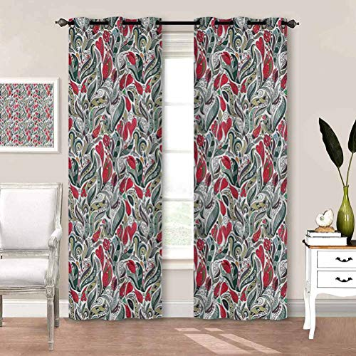 painting-home Window Curtain Retro, Colored Boho Flowers Leaf Privacy Curtains Perfect for Your Living Room W84 x L84 Inch
