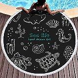Toallas de playa de gran tamaño, toalla de playa redonda Manta Toallas de playa para niños con borlas dibujadas Doodle Sea Life Set elementos aislados en la playa divertida Toalla de playa 60 pulgadas