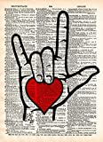 ASL I love you sign language art with heart, on vintage dictionary page