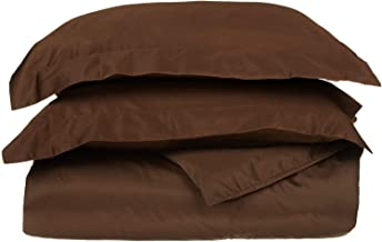 1000 Thread Count Three (3) Piece Queen Size Solid Duvet Cover Set, 100% Egyptian Cotton, Premium Hotel Quality Queen Brown COMIN16JU018980