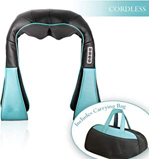 Cordless SHIATSU DEEP Tissue Neck KNEADING Massager | with Heating Function | Includes Carrying Bag | Great for Neck, Back, Shoulder and More