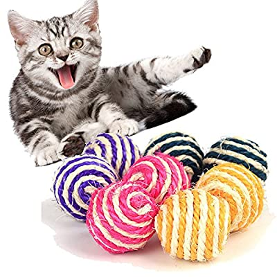 winwintom 3PCS Cat Pet Sisal Rope Weave Ball Te...