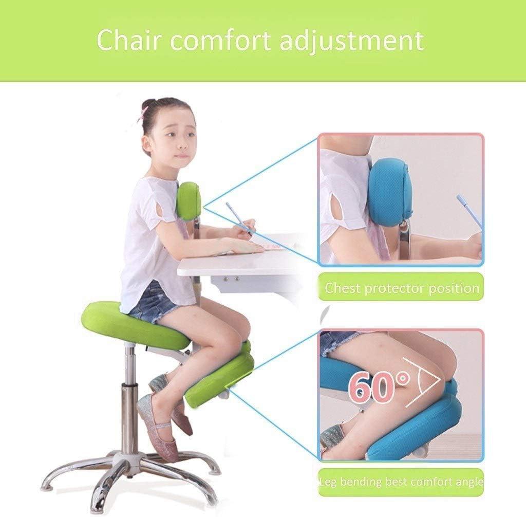 YLJYJ Chaises à Genoux Tabouret réglable Posture Ergonomique adaptée aux Enfants de 1,1 m à 1,55 m (Couleur: Bleu Dimensions: sans pédales) Blue