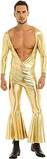 zdhoor Men Disco Costume Shiny Metallic Bell Bottom Pants Bodysuit Leotard Catsuit Clubwear