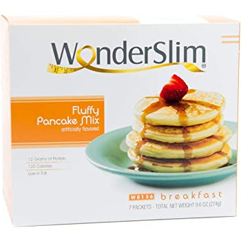WonderSlim Protein Pancake Mix - Fluffy Hot Cakes - Flapjack - Low Fat Pancake Mix with 12g Protein (7 Count)