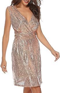 Vestito da Cocktail alla Moda YYW Abito da Sera da Donna con Spalline Scollato Scollato Sexy