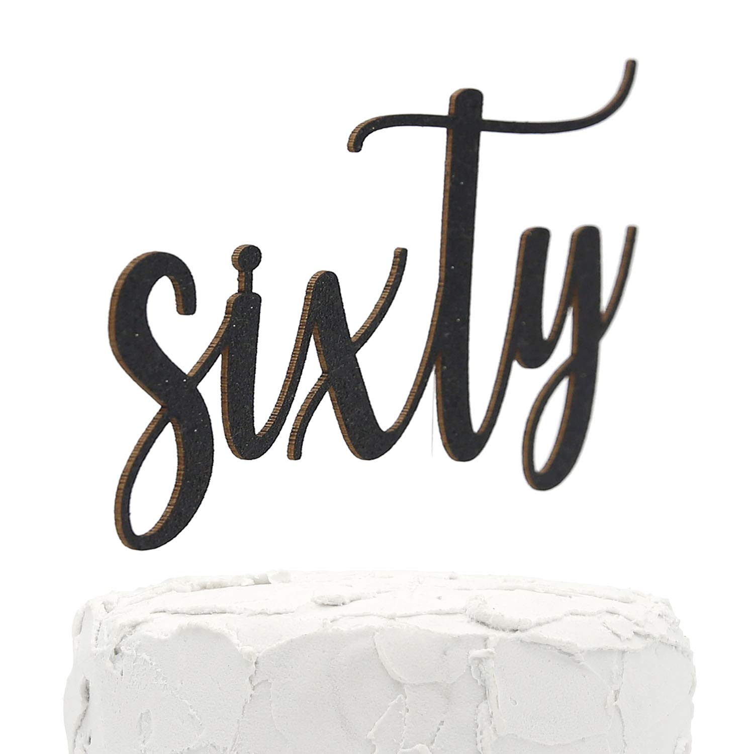 NANASUKO 60th Birthday Cake Topper sixty Sided Max 90% OFF OFFicial site Black - Double