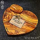 What the Art! Olive Wood «Valentino» | Gr. M | Olivenholzbrett Herzform inkl. Schälchen + Geschenk | ca. 24cm x 22cm x 2cm | Schneidebrett - Käsebrett - Servierbrett - Brotzeitbrett - Kräuterbrett