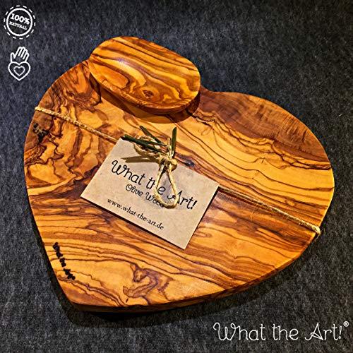 What the Art!® Olive Wood «Valentino» Gr. M | Olivenholz Schneidebrett inkl. Dip-Schälchen + Geschenk | ca. 24 x 22 x 2 cm | Käsebrett - Servierbrett - Brotzeitbrett - Vesperbrett