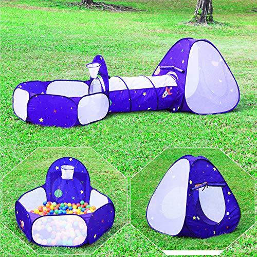 Homfu 3 in 1 Pieghevoli Kids Play Tenda con Tunnel per Bambini e Bambine per Campeggio Esterno Giocattolo per Bambini con Design Popu Piscina di Pallacanestro