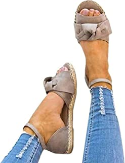 Womens Cute Bow Open Toe Ankle Strap Espadrille Flat Sandals
