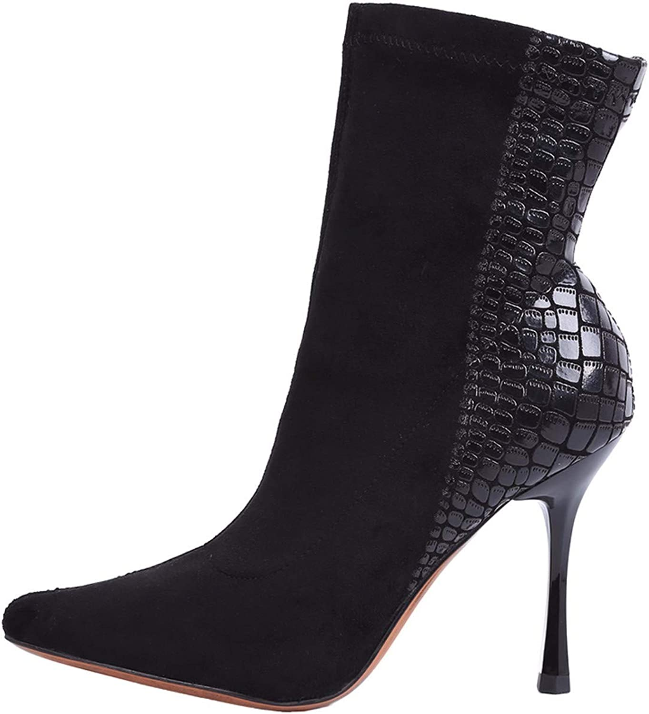 HBDLH Damenschuhe Schlangen - Muster Kurze Stiefel Mit Hohen 9Cm Elastisch Temperament Sexy Clever Dünn Und Ma Dingxue.