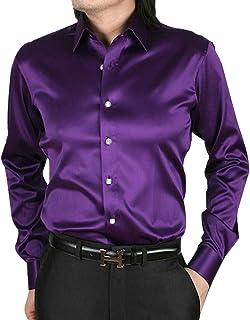 قميص رجالي فاخر من الساتان قميص كلاسيكي طويل الأكمام بأزرار للأسفل من الحرير الرقيق