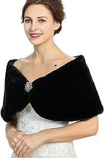 Campsis Bride Fur Shawls and Wraps Baidal Wedding Faux Fur Scarf Black Winter Cover up Women's 1920 Fur Stoles for Women a...