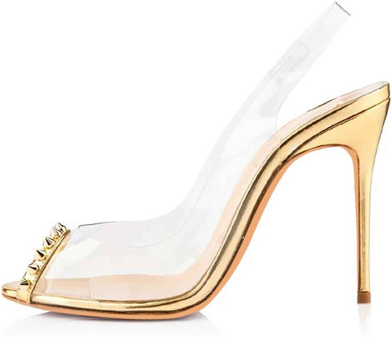 AIWEIYi Womens Transparent Sandals High Heels Peep Toe Rivets Ankle Strap Summer shoes Black