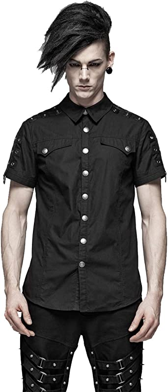 Punk Rave Camisa casual para hombre steampunk negro manga ...