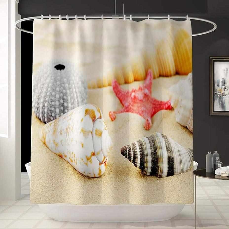 洗練されたハンディキャップ柔和ビーチ巻き貝パターン楽しいシャワーカーテン風呂アカウントバスルーム褪色しないで汎用防水カーテン快適なバスタブシャワーカーテン180センチ* 180センチ洗濯機で洗えます フェンコー