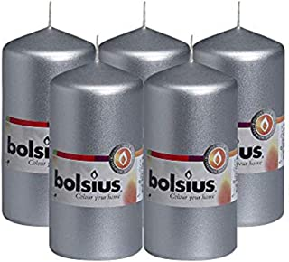 """BOLSIUS Set of 5 Silver Unscented Dripless Pillar Candles Aprox 2.25"""" x 4.75"""" - Clean Burning Smokeless Dinner Candles for..."""