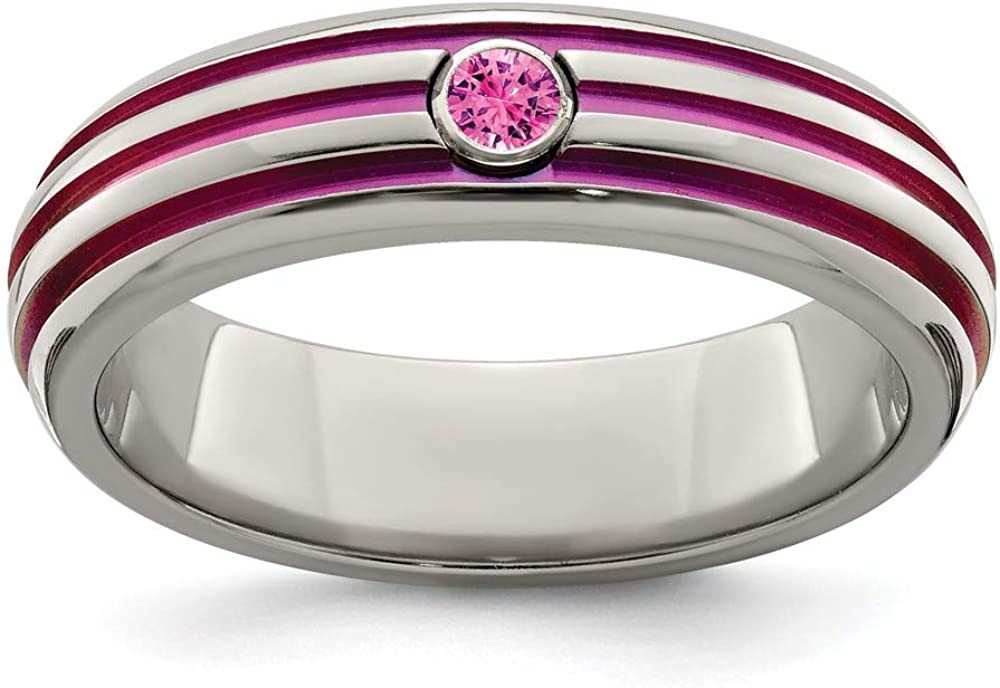 ICE CARATS Edward Mirell Titanium Trpl Groove Pink Anodized Sapphire Band Ring Wedding Fashion Jewelry for Women Gifts for Her