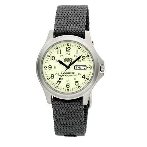 Lorus Gents Analogue Lumibrite Day-Date Grey Nylon Strap Watch RXF41AX7