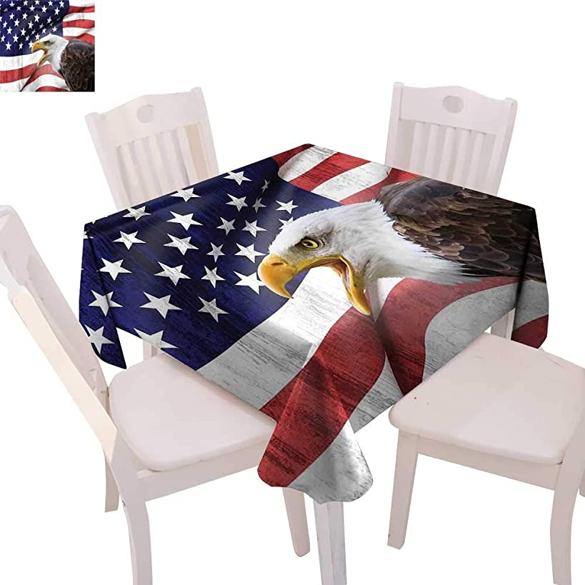 cobeDecor American Flag Dinning Tabletop DecorEagle on Foreground Banner Pride History Solidarity Martial Identity Symbol Table Cover for Kitchen 60