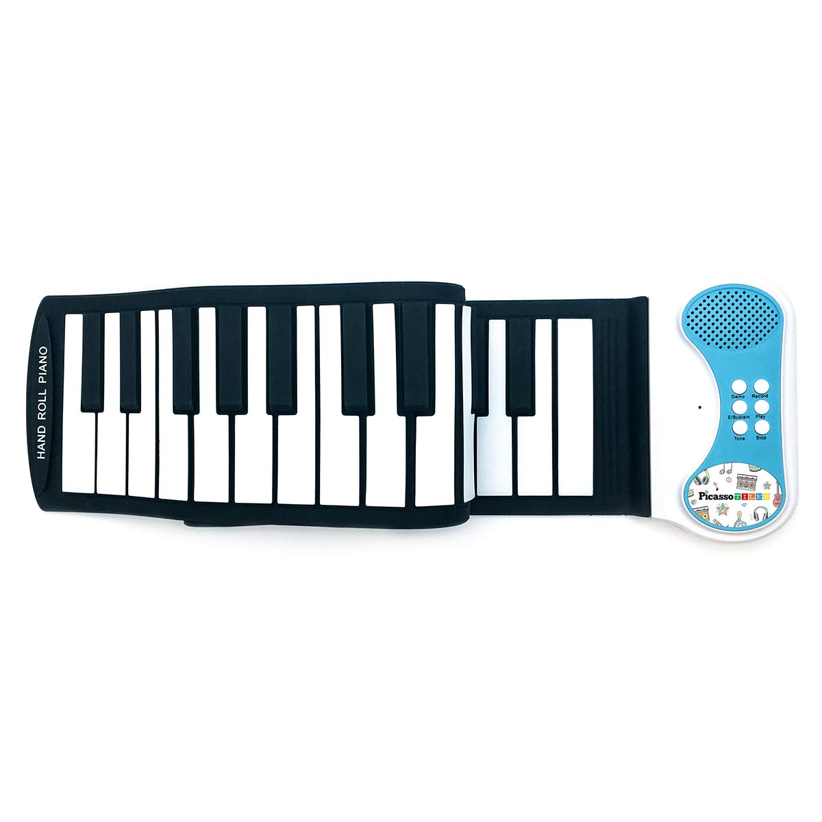PicassoTiles PT49 Portable Kid's 49-Key Flexible Roll Up Educational Electronic Digital Music Piano Keyboard w/ Recording Feature, 8 Different Tones, 6 Educational Demo Songs & Build-in Speaker - Blue