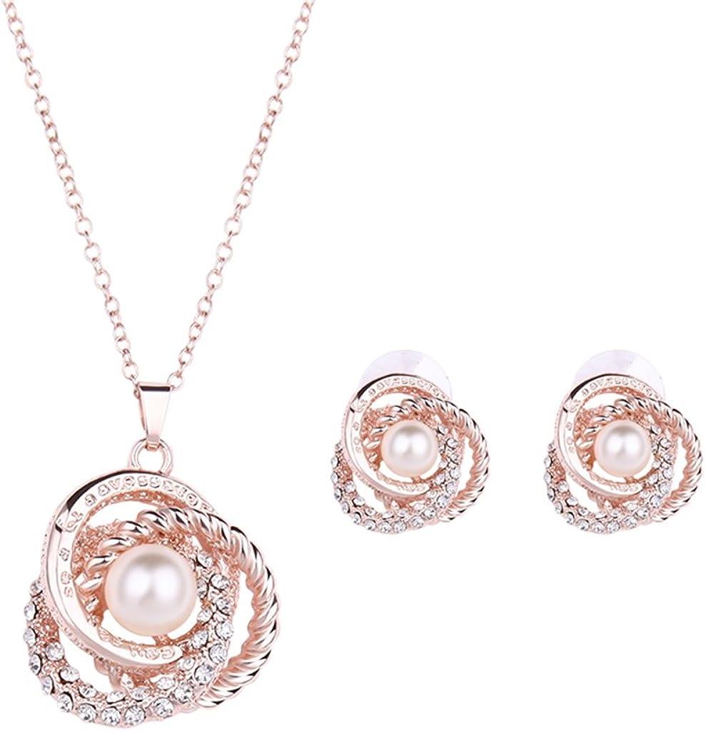 Milue Women Jewelry Set Gorgeous Rhinestone Faux Pearl Pendant Necklace Stud Earrings