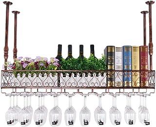 ZHTY Casier à vin Suspendu en métal avec Support en Verre Porte-Bouteille de vin gobelet pour Organisation d'armoires de B...