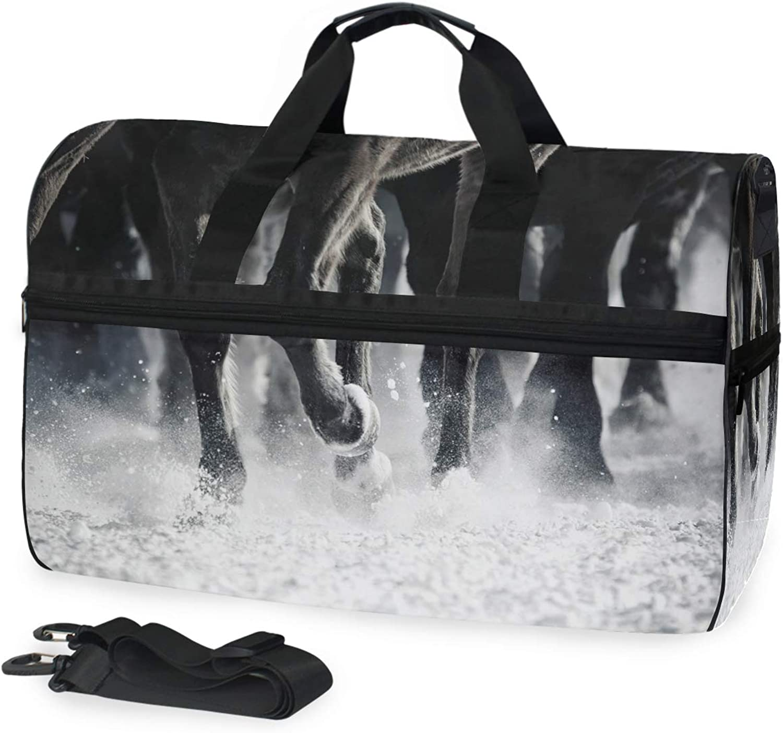 FANTAZIO Ten Thousand Steeds Gallop Sports Duffle Bag Gym Bag Travel Duffel with Adjustable Strap