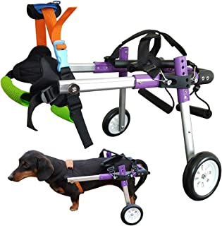 HiHydro Dog Wheelchair Lightweight Adjustable Pet Wheelchair with 2 Wheels for Back Legs Rehabilitation Protect Spin-Purpl...