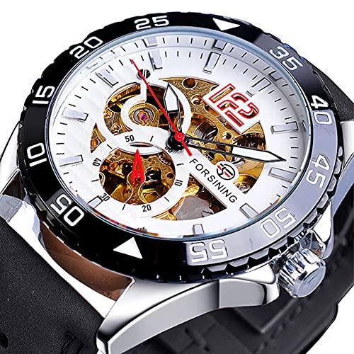 Excellent Reloj automático de Hombres con Luminosa Esfera de Cuero de Cuero Moda Reloj de Pulsera de Moda para Hombres Reloj mecánico automático,A05