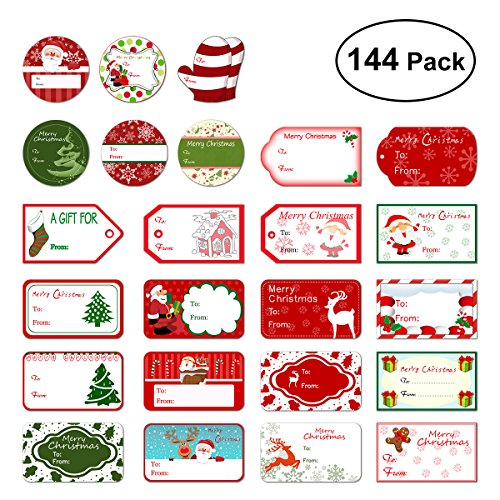 Tinksky Christmas Self Adhesive Gift Tag Stickers Santa Snowmen Xmas Tree Deer Christmas Festival Birthday Wedding Holiday Decorative Presents Labels Decals Christmas Gift for friends 144 pack