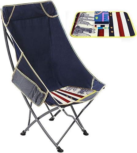 LJJOO Folding chair Chaise De Lune De Pêche en Plein Air pour La Pause De Midi, InsTailletion Gratuite, Confort du Dossier élevé, Tabouret De Chaise De Pêche à Dossier Pliable (Couleur   bleu)