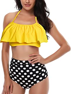 Rosiika Girls Kids Swimsuit Two Pieces Bikini Set Ruffle Falbala Swimwear Bathing Suits