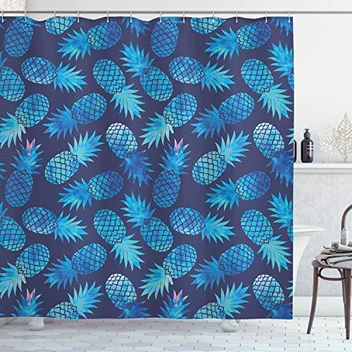 ABAKUHAUS Modern Duschvorhang, Exotische Ananas Figuren, Bakterie Schimmel Resistent inkl. 12 Haken Waschbar Stielvoller Digitaldruck, 175 x 200 cm, Nacht blau Türkis