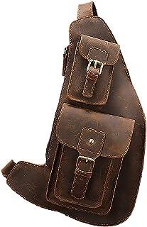 JIAJIA Locomotive American Vintage Oil-immersed Leather Chest Bag, Riding Bag Crazy Horse Leather Shoulder Bag, Saddle Bag, Leather Croissant, Motorcycle Bag, Reasonable Layout Sports