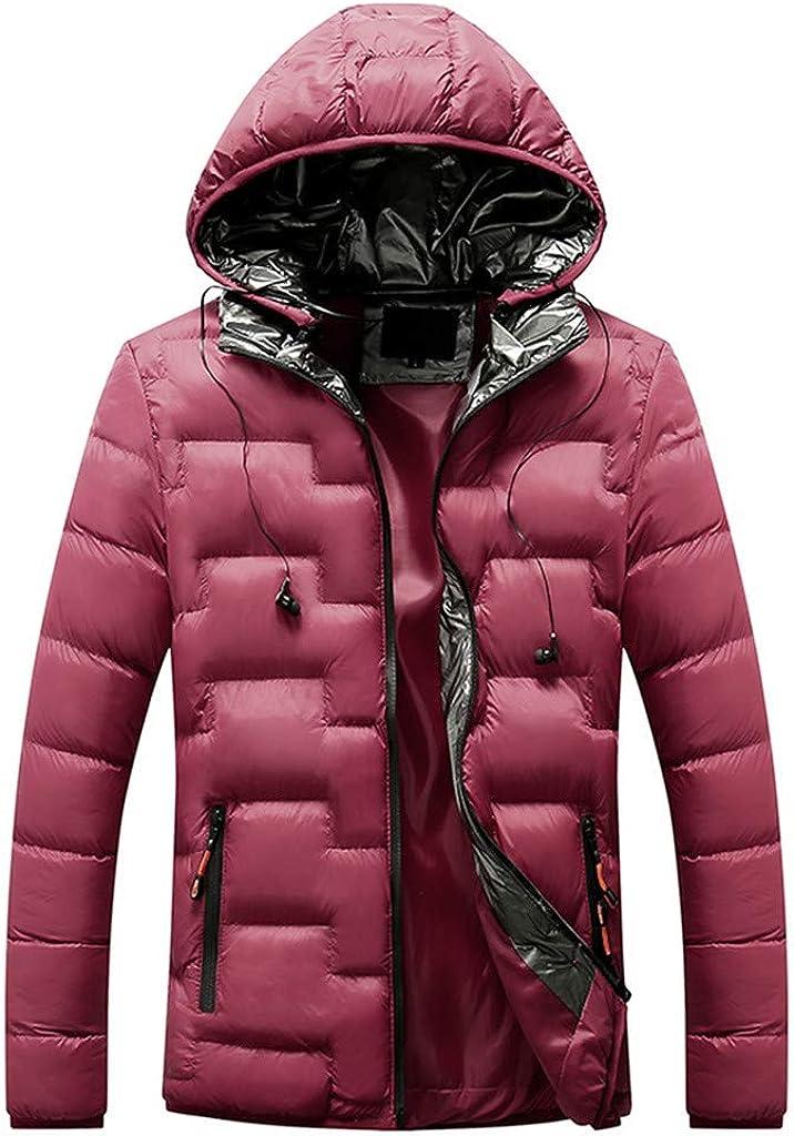 Winter Down Jacket Men, NRUTUP Reflective Hood Water-Resistant Puffer Jacket, Smart Padded Tracksuit Overcoat