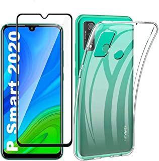 Boleyi For Huawei P Smart SCase With Screen Protector,[2 in 1] TPU Silicone Case + [1 PACK] 9H Tempered Glass Screen Prot...