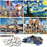 Jigsaw Puzzle,Watlike 4-Pack of 1000 Pieces |Fire Balloon|Starry Sky|Tower Bridge|and Animals Worlds, Large Size 7050cm (27.56' x 19.69') Artwork, Fun Game, Early Education, Gift for Kids Adults